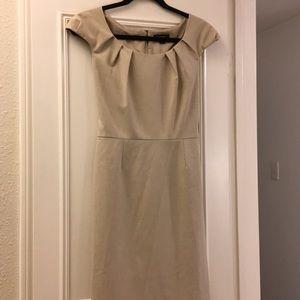Tahari taupe business dress, pleating